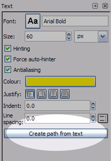 gimp how to make text outline